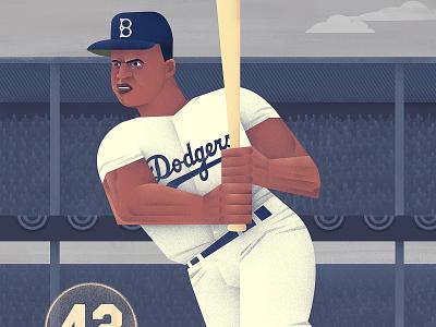 Poster of Jackie Robinson majorleaguebaseball mlb jackie robinson digital illustration photoshop digital painting wacom cintiq digital art illustration baseball bat baseball