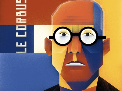 Poster Le Corbusier painting portrait wacom cintiq photoshop digital art illustration poster art le corbusier architecture poster
