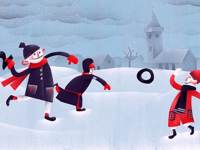 Happy New Year 2020 snow winter playing kids newyear digitalart illustrator