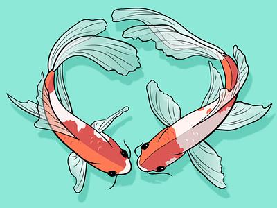 koi fish vector illustration design koi fish adobe illustrator inktober fish illustrator
