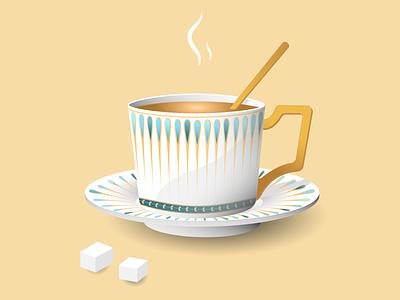 My cup of tea sugar cup tea cup vector illustrator illustration design adobe illustrator