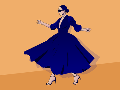 Lady in blue woman illustration character design gradient design vector illustration design adobe illustrator