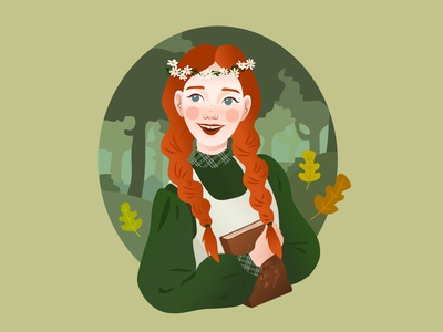 Anne fanart anne forest girl illustration inktober vector illustrator character design illustration adobe illustrator