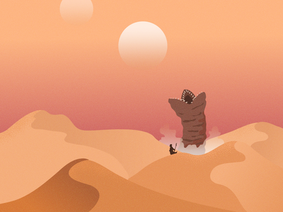 Dune sci-fi desert dunes gradient design vector illustration adobe illustrator