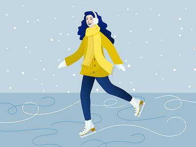 Ice skating winter ice skating woman illustration vectorart vector character design illustration adobe illustrator
