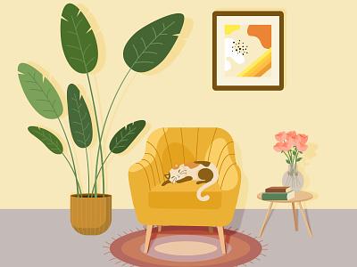 Sleep cats cat art vectober2020 animal art illustration vectorart vector adobe illustrator