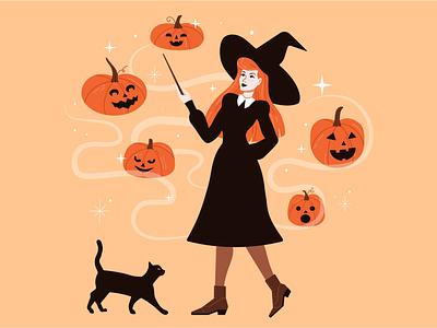 Happy halloween halloween cat drawing jack o lantern pumpkin witch girl illustration woman illustration character design vectorart vector illustration adobe illustrator