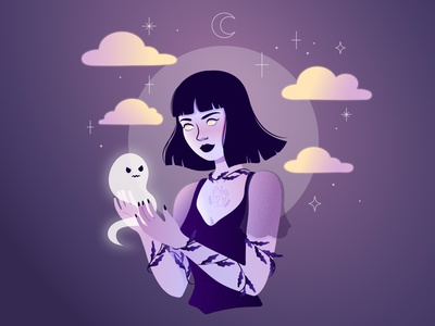 Moody ghost witchy ghost girl illustration woman illustration character design vectorart illustration adobe illustrator