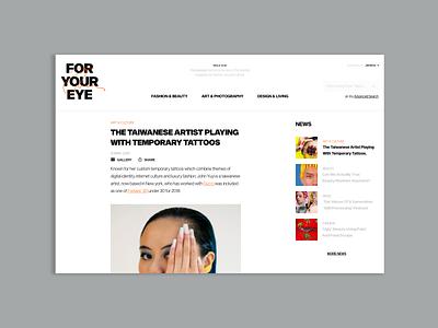 FORYOUREYE web adobe xd colors magazine fashion ui minimal ux design