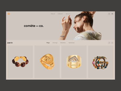 comète-co home page principle figma transition minimal design colors animation logo jewelry fashion ecommerce ui ux web