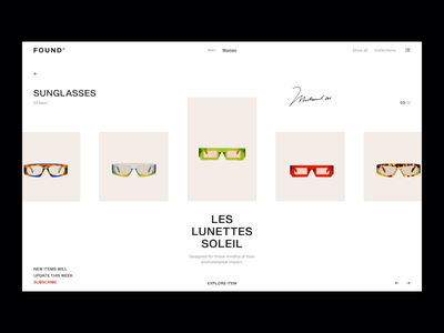 JAM ON IT principle details signiture found product sunglasses model girl figma transition animation colors ecommerce ui fashion ux minimal design