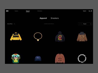 Nineback shop protopie figma transition animation ecommerce fashion ux minimal categories design