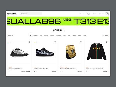 FORGEMINI figma web colors transition ecommerce animation ui ux fashion minimal design