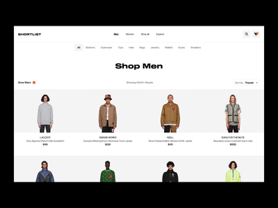 SHORTLIST colors protopie figma transition ecommerce animation ui ux fashion minimal design