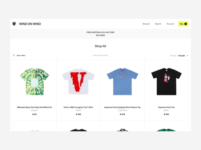 Wind On Wind shop identity editorial branding figma colors animation ui ux fashion design ecommerce