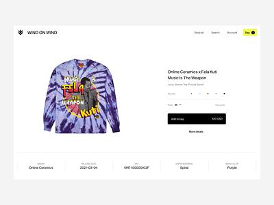 Wind On Wind logo branding figma colors ecommerce animation ui ux minimal fashion design