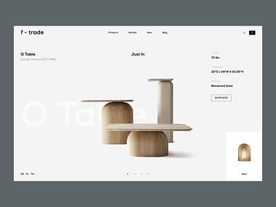 f-trade minimal fashion webdesign ux ui design logo stone lamp living furniture ecommerce eco branding animation