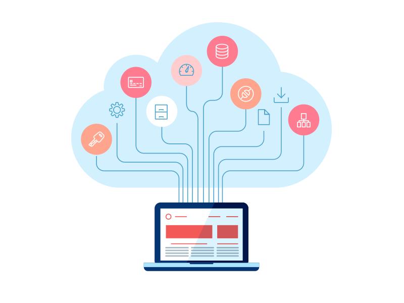 Cloud computing illustration flat icon ai illustrator icon illustration