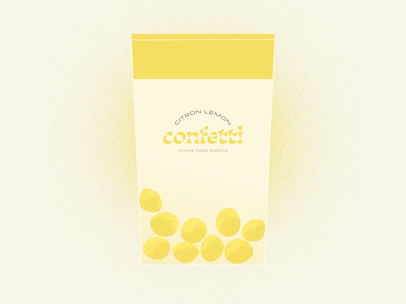 Confetti Sweets illustration typography logotype identitydesign visualidentity design object textures sketch caramelo caramel yellow lemon flyingtiger process project illustration sweets