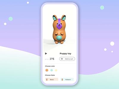 Toy Shop App app design aftereffects shop animation purple games animals minimal illustration motion ux ui ecomerce toys puppy 3d cinema4d