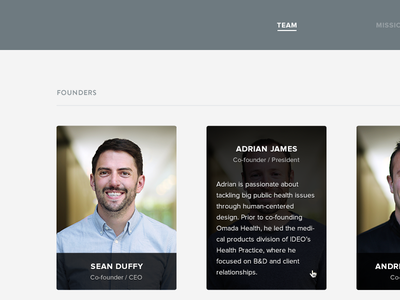 Omada About Page Revamp about profile founder team