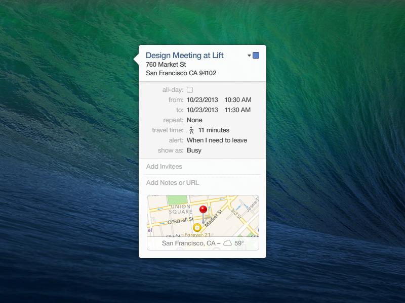 Mavericks' Calendar Tooltip - Free PSD mac mavericks calendar maps tooltip freebie psd