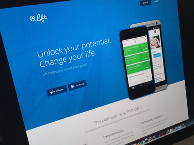 Lift Landing Page lift homepage landing product mobile app