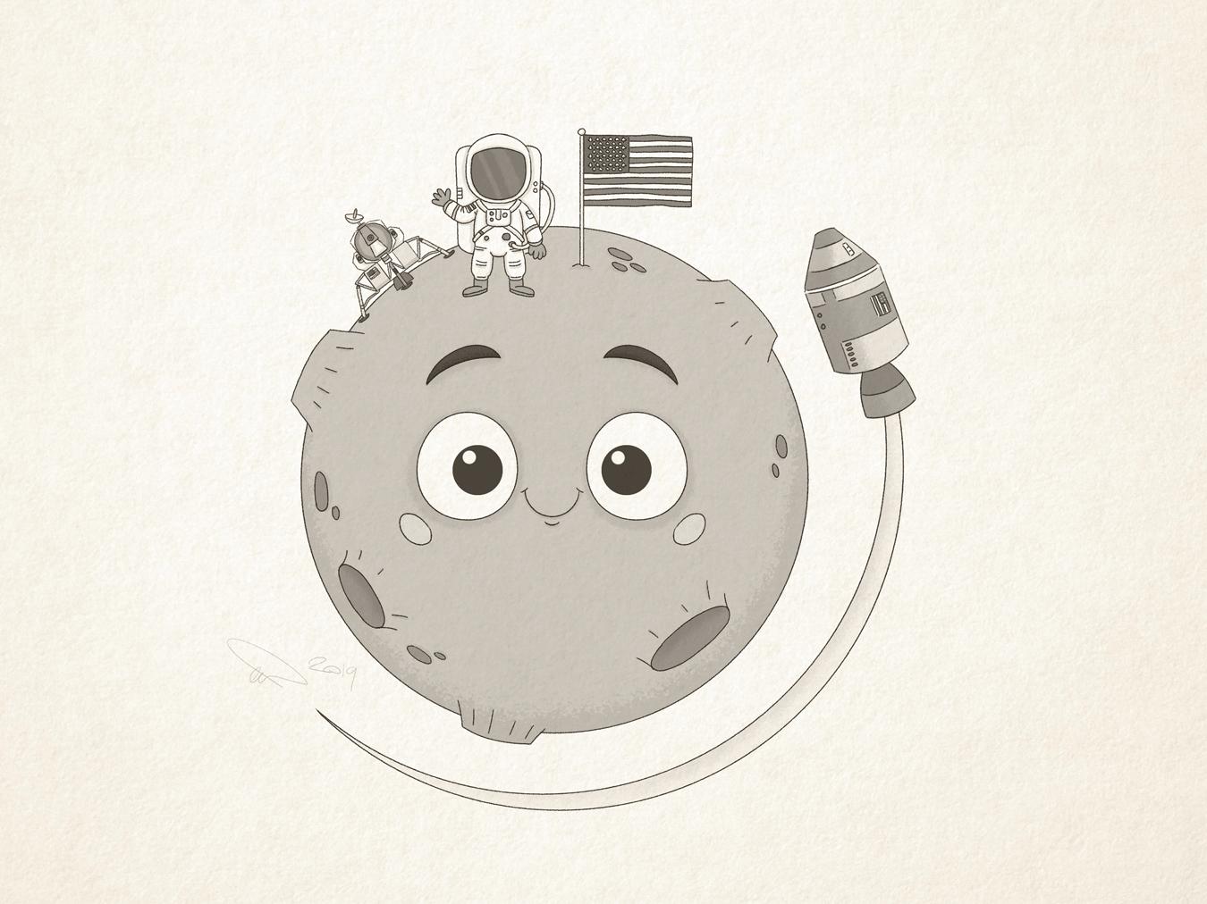 Apollo 11 50th Anniversary astronaut space rocket apollo 50 cute apollo 11 cartoon moonlanding moon nasa