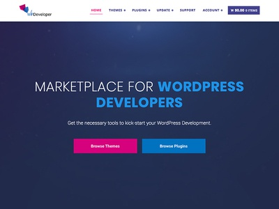 WP Developer Redesign design landing web landing page fullscreen marketplace wordpress