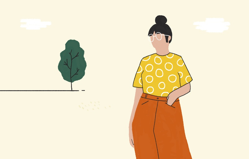 Waiting girl flat garden outline clouds green yellow orange fashion spring glasses tree girl illustration