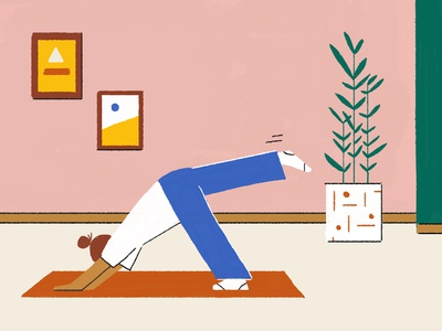 Yoga time character yoga mat photoshop illustration home yoga pose zen girl yoga