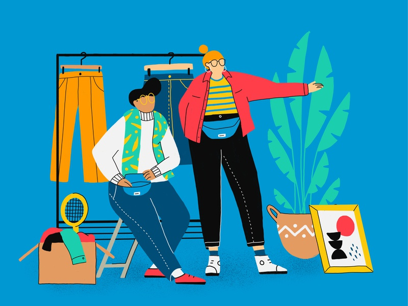 Look! What a bargain! bargain find plant character design sunday happy stuff flea market clothes cool second hand girl outline flat market flea illustration