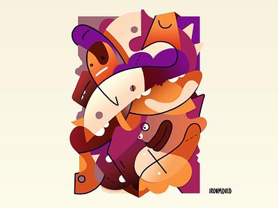 Drowsiness monsters composition littleworld illustration handmade character