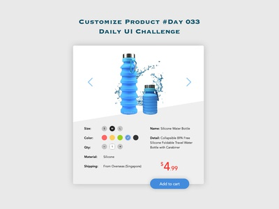 Day 033 - Customize Product - Daily UI Design Challenge
