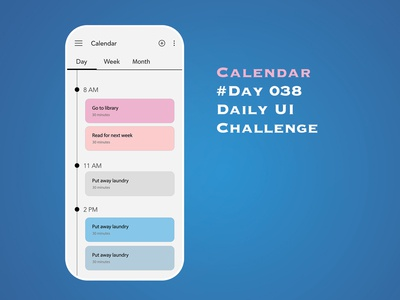 Day 038 - Calendar - Daily UI Design Challenge