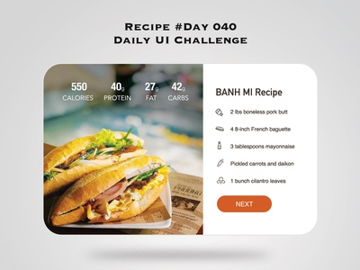Day 040 - Recipe - Daily UI Design Challenge