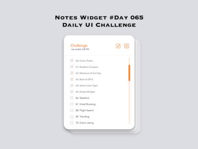 Day 065 - Notes Widget - Daily UI Design Challenge