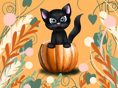 black kitten in a pumpkin ui illustrations print poster design illustration art illustrator иллюстратор pumpkin black kitte illustration