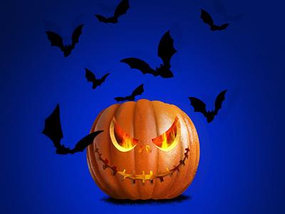 halloween pumpkin with bats иллюстратор halloween pumpkin illustration art illustration