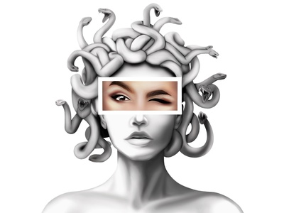medusa gorgon print printing poster portrait illustration design portrait illustration illustration art