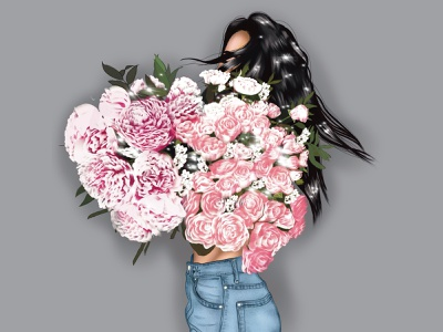 Hello Spring ui girl illustration spring flowers illustration art illustration digital portrait