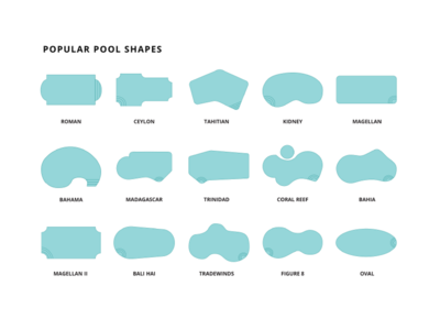Popular swimming pool shape illustrations for local pool builder.