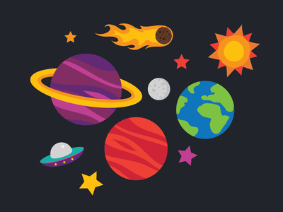 Space space flat illustration
