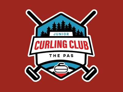 Logo design for The Pas Junior Curling Club curling badge design badge logo flat identity badge branding logo