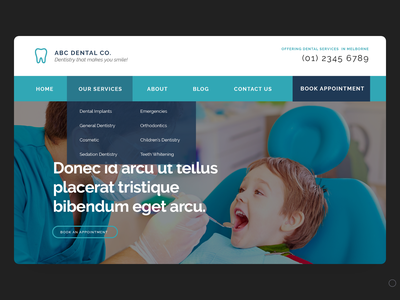 Dentist Website Mockup ui design website design website concept mockup design dentist website web mockup