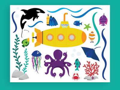 Underwater Explorer Sticker Illustrations