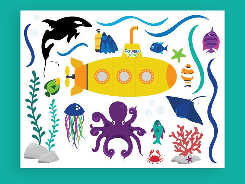 Underwater Explorer Sticker Illustrations