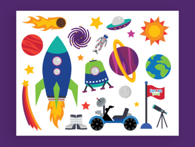 Space Explorer Sticker Illustrations