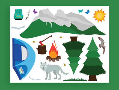 Camping Explorer Sticker Illustrations