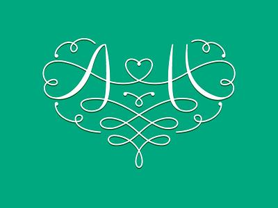 Wedding logo wedding logo monogram swirl lettering decoration ah heart